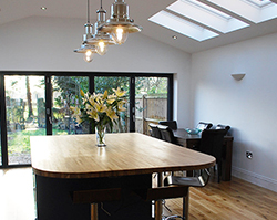 A stunning dining room build into a spacious extension.